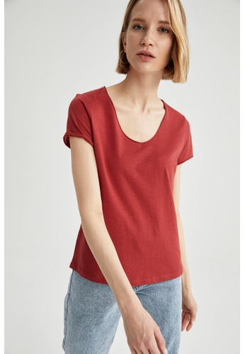 DeFacto red Woman Knitted Short Sleeve T-Shirt 88E80AA7B53839GS_1