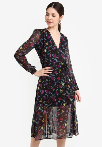 Glamorous black and multi Tie Waist Ruched Midi Dress A238EAA3699062GS_1