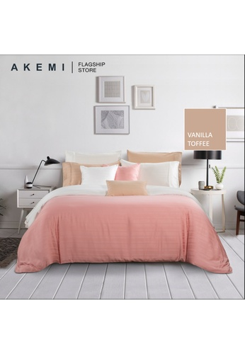 AKEMI brown and pink Akemi Tencel Accord Accord - Ronny Vanilla Toffee Fitted Sheet Set. 06057HL4F3D581GS_1