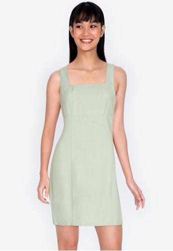 ZALORA BASICS green Fitted Square Neck Mini Dress B7621AA57AC52FGS_1