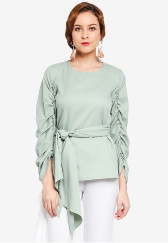 Lubna green Gathered Sleeve Front Tied Top 4CCF4AA7A78224GS_1