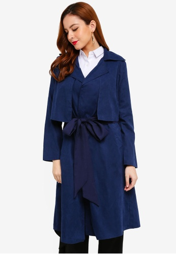 Lubna blue and navy Boyfriend Trench Coat 85D6AAA1EB1B3EGS_1