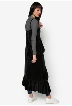韓風格天鵝絨荷葉飾無袖長裙
