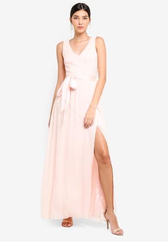 Little Mistress beige Nude V-Neck Maxi Dress 86B6FAA1B21D41GS_1
