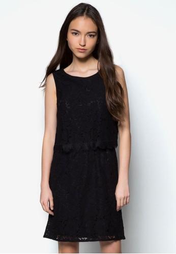 蕾絲層次無袖洋裝,zalora 衣服尺寸 服飾, 正式洋裝