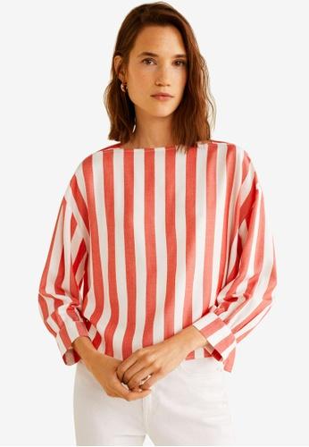 Mango white and red Stripe Print Blouse 27AD0AA450264FGS_1
