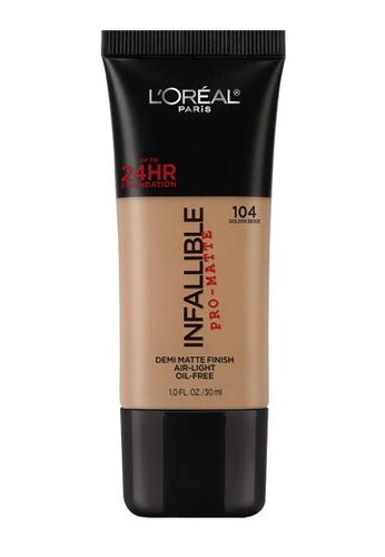 L'Oréal Paris brown L'Oreal Paris Infallible Pro-Matte Liquid Foundation - 104 Golden Beige CFA4CBE9E83229GS_1
