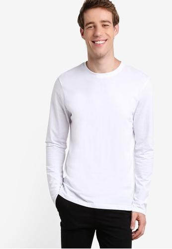 Burton Menswear London white Long Sleeve Basic Crew White T-Shirt BU964AA91ZOAMY_1