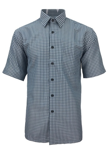 Pacolino green Pacolino - Korea Polynosic Wrinkle Free Checker Formal Casual Short Sleeve Men Shirt FF066AAE8121A2GS_1