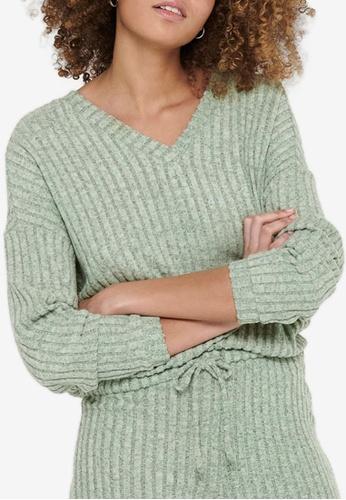ONLY green Eva V-neck Sweater 6BB85AA5CB677BGS_1