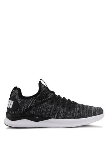 Puma black and grey and white Ignite Flash Evoknit Shoes PU549SH0SWD6MY_1