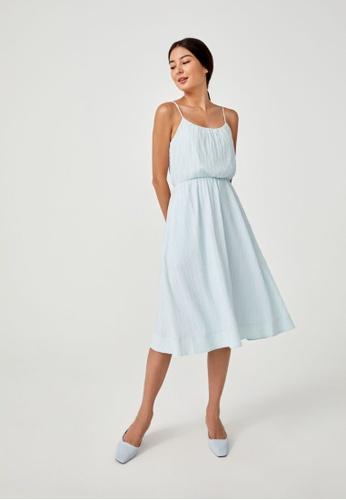 Love, Bonito blue Bess Tie Back Textured Midi Dress BCD2EAA490EC04GS_1