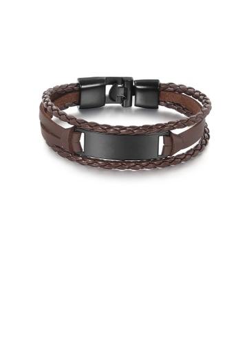 Glamorousky silver Fashion Simple 316L Stainless Steel Black Geometric Rectangular Brown Leather Bracelet E08BCAC2196CB5GS_1