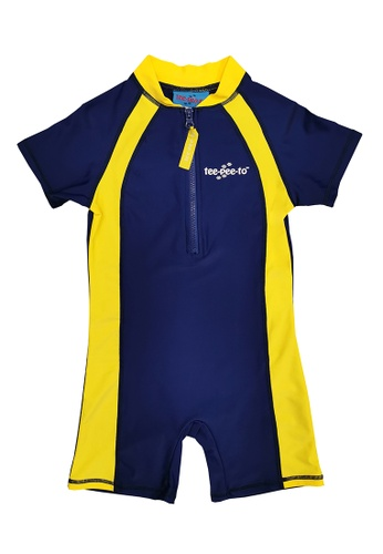 TeePeeTo yellow and blue and navy Navy Tangerine Solid One Piece 5A678KACD0E836GS_1