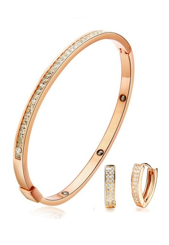 YOUNIQ gold YOUNIQ Eternal 14K Titanium Bangle with Cubic Zirconia & CZ Rec Titanium Earrings Special Set (Rosegold) A5B20AC0E7CC22GS_1