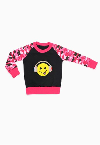 Savvaya black and pink Savvaya Pink Sweatshirt Smile Long Sleeve 64EDCKA0494CD8GS_1