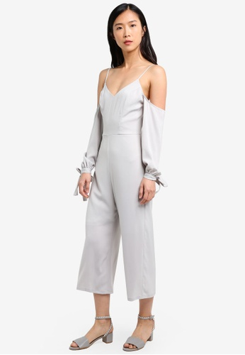ZALORA grey Cold Shoulder Cami Jumpsuit 62B9FAACCE2589GS_1