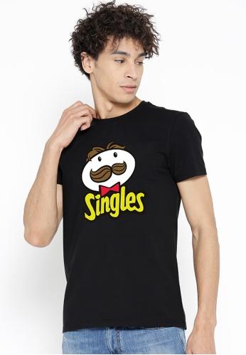 Greatvalueplus black Singles  Men's Round Neck Statement T-Shirt 85986AA93D0E6DGS_1