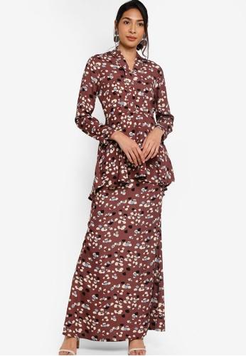 Baju Kebaya Peplum from ZALIA BASICS in Brown
