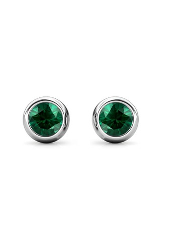 Her Jewellery green Birth Stone Moon Earring May Emerald WG - Anting Crystal Swarovski by Her Jewellery 00436AC1277128GS_1