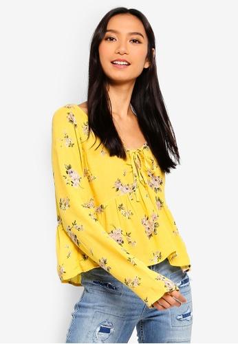 79957f09e3b8 Buy Hollister Long Sleeve Babydoll Top Online on ZALORA Singapore