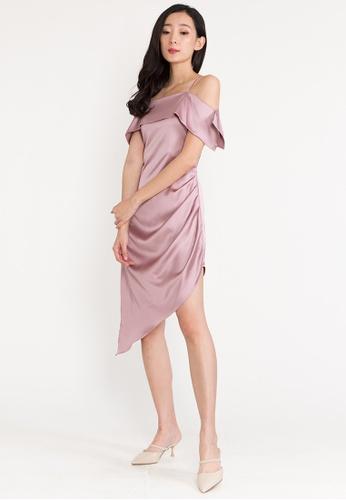 BEBEBEIGE pink BebeBeige Open Shoulder Midi Cocktail Dinner Dress 86998AAEBE666EGS_1