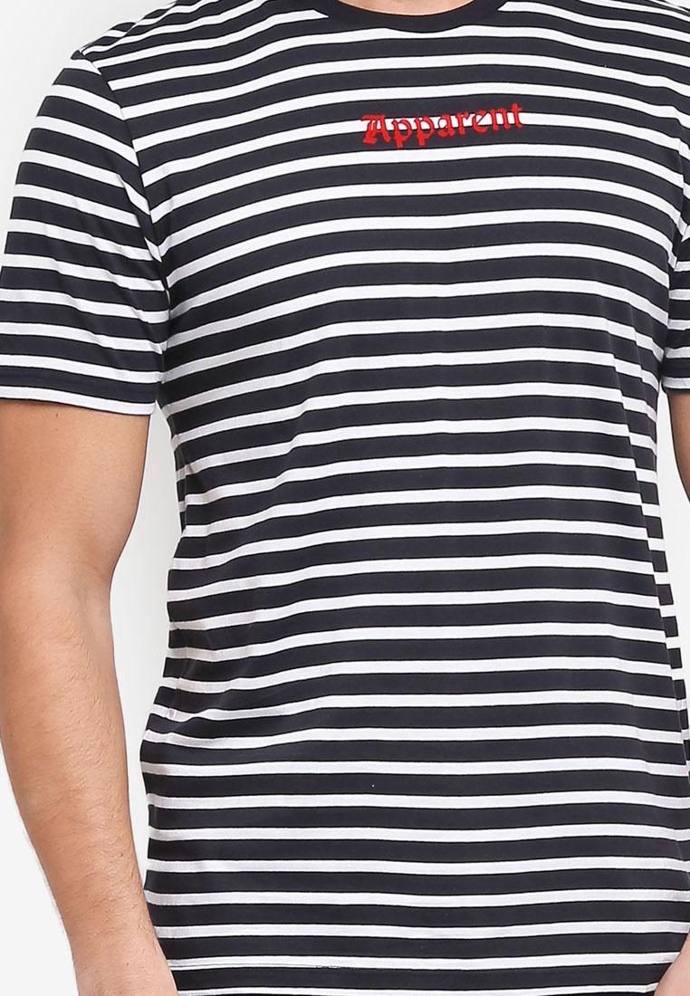 Navy Graphic White Stripe Tee Topman wwqtO8