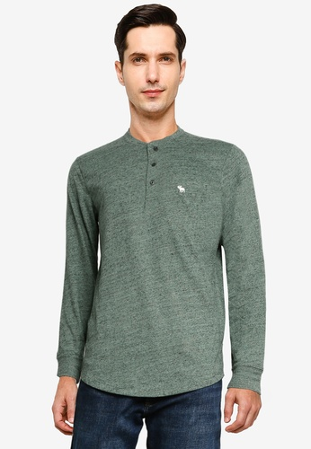 Abercrombie & Fitch green Icon Henley Tee 00ABFAA147FCBFGS_1