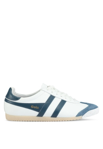 Gola white and blue Harrier 50 Leather Sneakers D20A4SH1CFB2E3GS_1