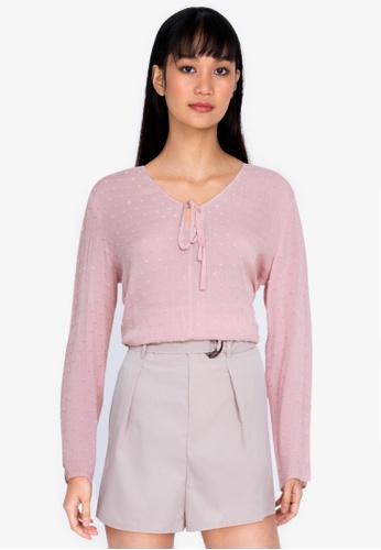 ZALORA BASICS pink Swiss Dot Long Sleeve Blouse 8F00AAA305418CGS_1