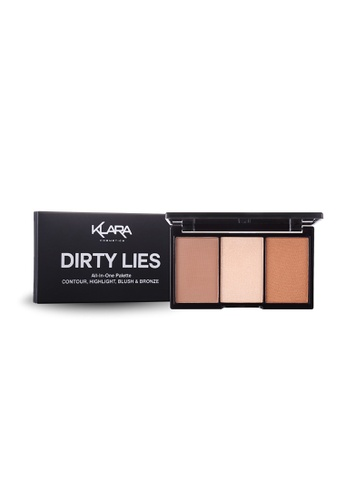 KLARA COSMETICS brown Dirty Lies, All In One Palette - Contour, Highlight, Blush & Bronze 64597BE07C36A5GS_1