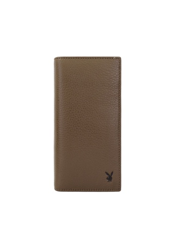 Playboy brown Faux Leather Rfid Blocking Long Wallet 908B0AC33D0C27GS_1