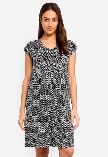 JoJo Maman Bébé black Maternity Geo Pleat Tunic Dress FD6D8AA56F1FA3GS_1