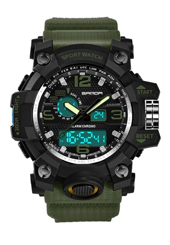 SANDA black Original SANDA 742 G Style Military Waterproof Outdoor Sports Men's Shockproof Digital Watch (Black Green) SA708AC0S0HMMY_1