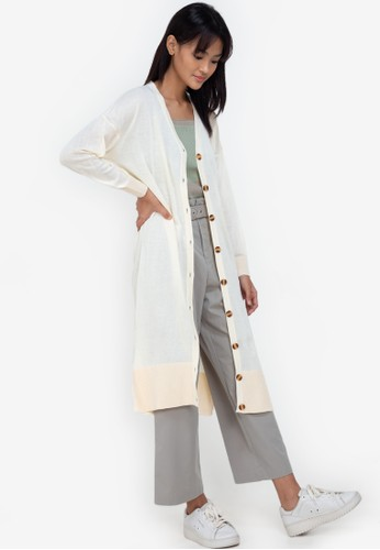 ZALORA BASICS beige Oversize Long Cardigan C04A3AA4B51540GS_1