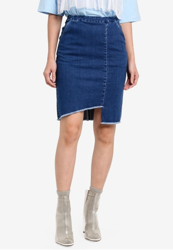 Something Borrowed blue Asymmetric Raw Edge Denim Skirt 55308AAF6FC7E0GS_1