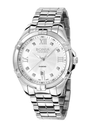 Bonia Watches silver Bonia Tesoro 3 Hands Date Diamond Stainless Steel 48mm Men Watch BNB10435-1317 50052AC1A8499FGS_1
