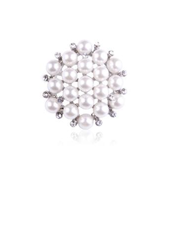Glamorousky white Fashion and Elegant Geometric Round Imitation Pearl Brooch with Cubic Zirconia C2218AC020C3B8GS_1