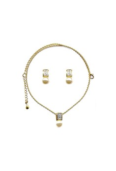 Paris Bijoux ST00946A Set Necklace + Earrings 22K Gold Plated - Crystal/Acrylic Pearl