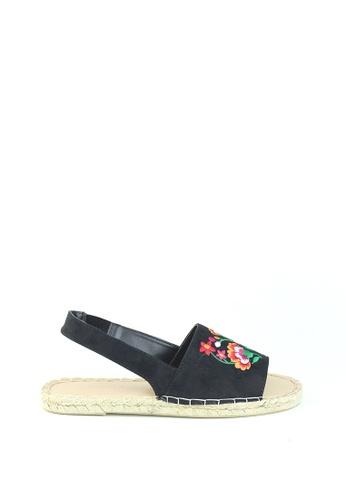 London Rag 黑色 London Rag 女士黑色平跟绣花凉鞋 SH1200 F60D8SHA78DD6EGS_1