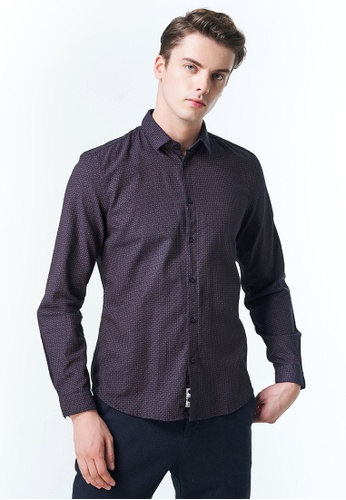 Sisley blue Printed Shirt 71F3BAA291C0D7GS_1
