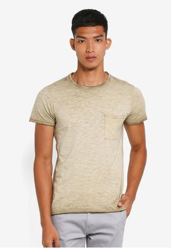 !Solid 綠色 短袖水洗口袋T恤 370A5AA55A8718GS_1