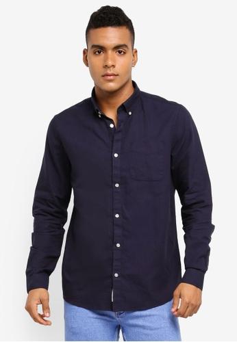River Island navy Navy Oxford Shirt 7C231AA1682F3AGS_1