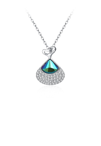 Glamorousky white 925 Sterling Silver Lovely Heart Pendant with Blue Austrian Element Crystal and Necklace 8052AACE96481AGS_1