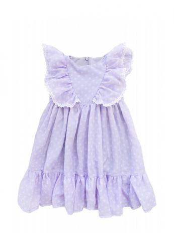 Petit l' ange children's wear purple Polka Dots Ruffle Dress with Lace trimmings A7329KA60B362BGS_1