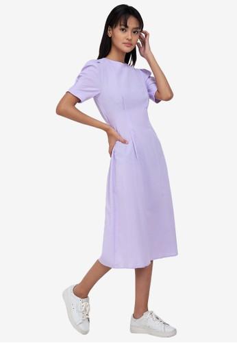 ZALORA BASICS purple Puff Sleeve Keyhole Back Dress 3D21EAAAD5EB02GS_1