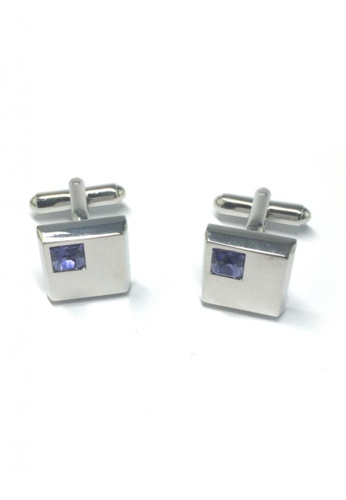 Splice Cufflinks silver Blue Crystals Inserts Square Cufflinks SP744AC08FTJSG_1