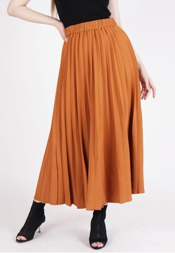 MAGNOLIA brown Pleated Maxi Skirt 4E600AA687640DGS_1