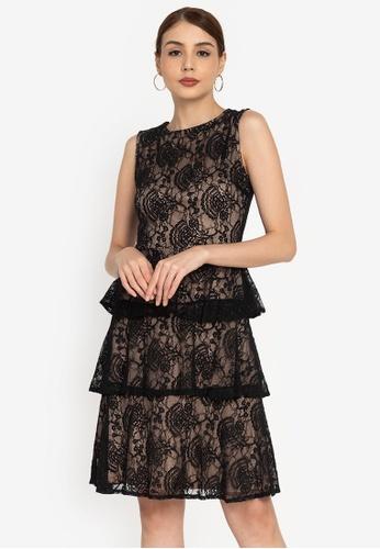 ZALORA OCCASION black Tiered Lace Midi Dress FB0B3AAB735DCAGS_1