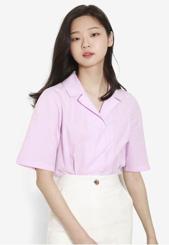NAIN purple Half Sleeve Blouse 7D628AA5F6B262GS_1